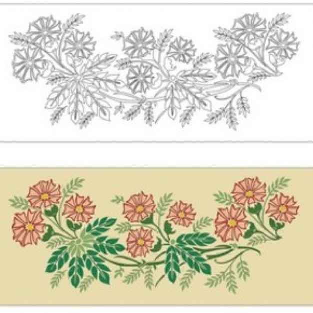 flowers and leaves Ornament in outline and colored