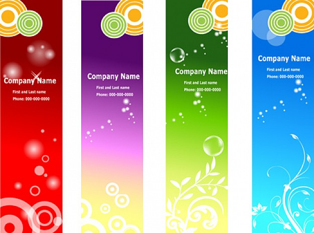 four colorful ads banners in vertical