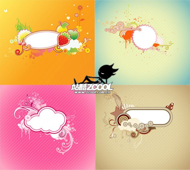 four cute trend material with cloud sun fruit
