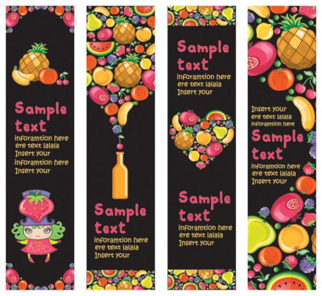 funny cute variety of fruit banner material for cover design