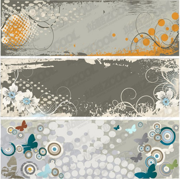 gray trend banner template with target and swirls