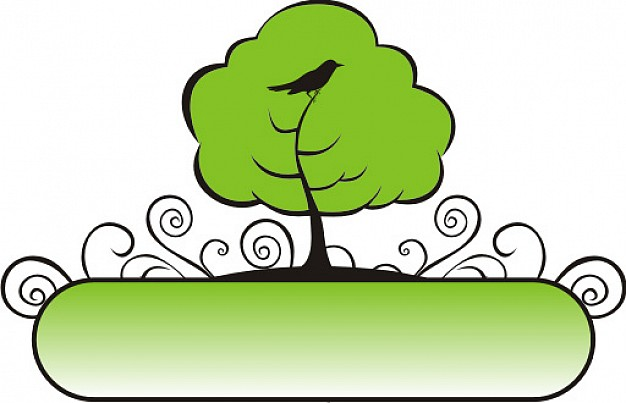green banner tree with bird and swirl floral