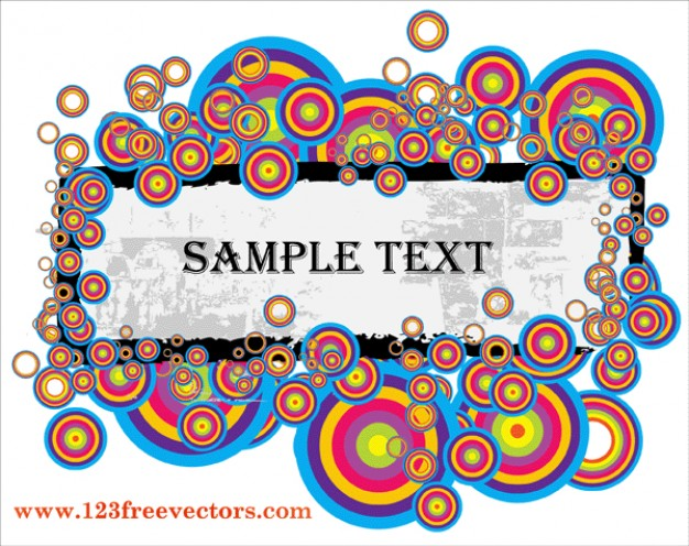 grunge retro rounds text banner arounded with colorful target circles