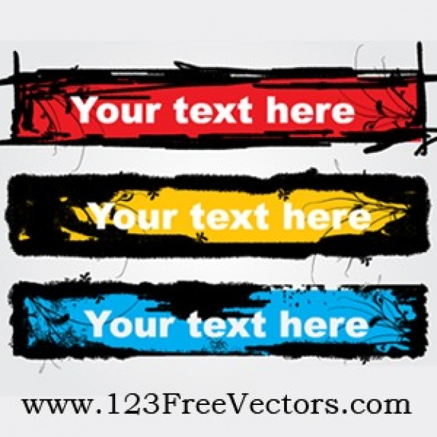 grunge text banners with red yellow blue