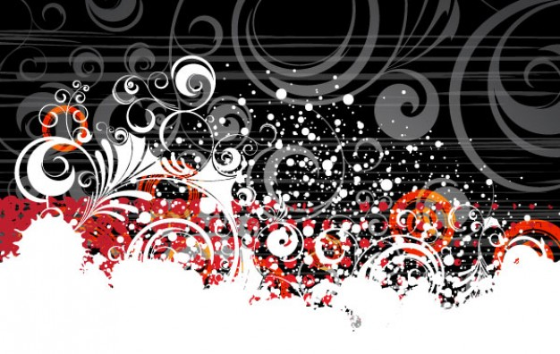 grungy banner with floral