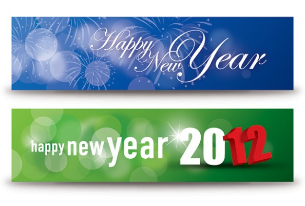 happy new year banners in green and blue style