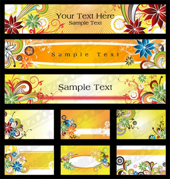 nine exquisite pattern element material with flowers
