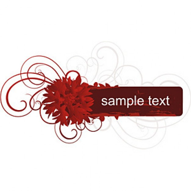 red banner with flower swirl