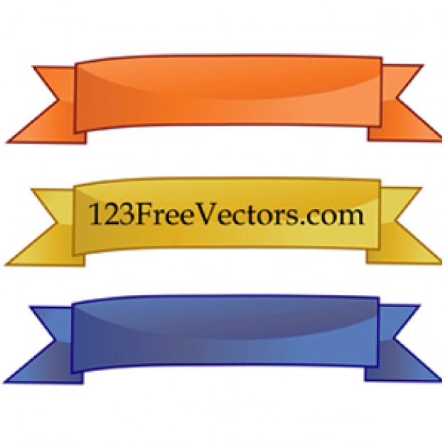 ribbons banners with gloss and pointy tips