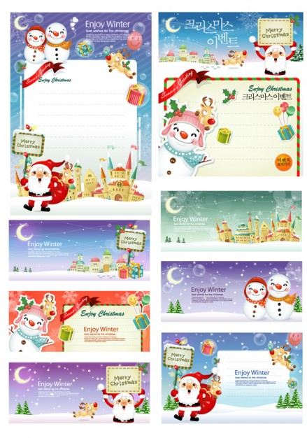 santa claus and the panels for Christmas greeting card