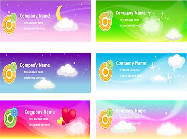 six fresh colorful banners set with cloud