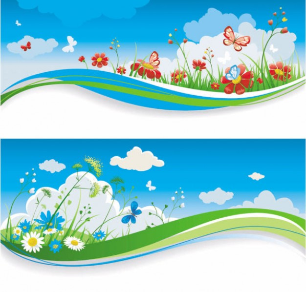 spring of banner with cloud flower grass