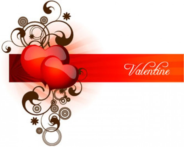 stock valentine heart and elegant swirls over red banner line