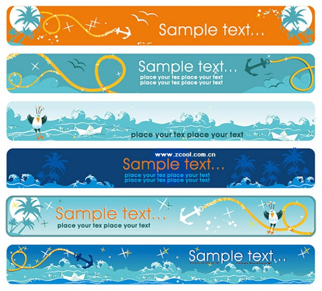 the sea theme banner material for travel template