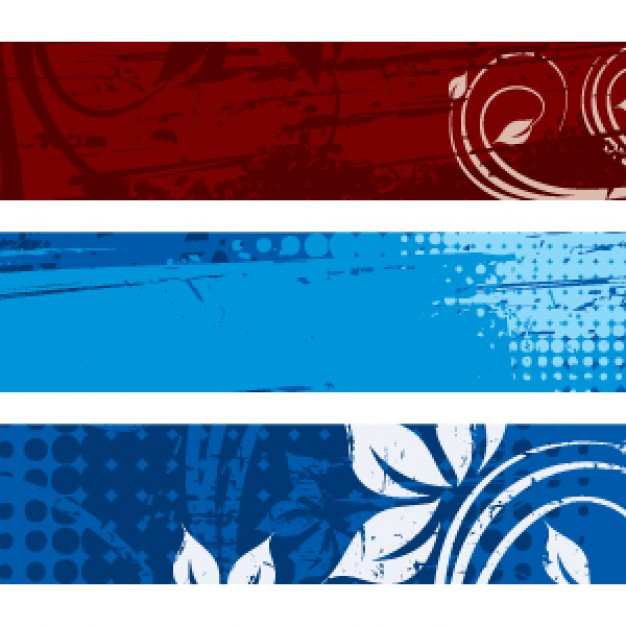 three colors banners with flowers