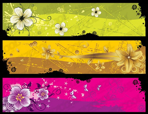 trend elegant flowers banner template material in three colour style