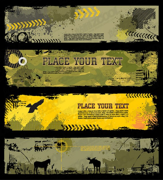 trend texture banner template with house horse eagle