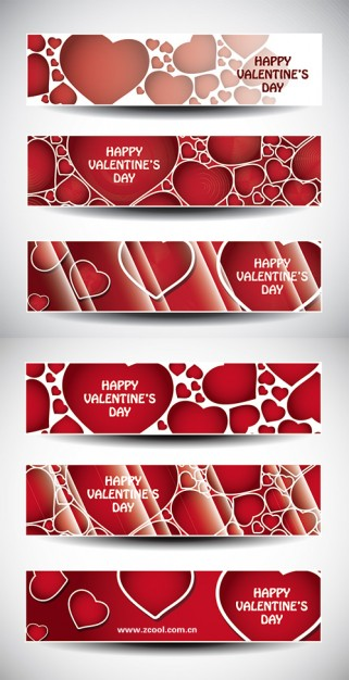 valentine s day love banner with red hearts