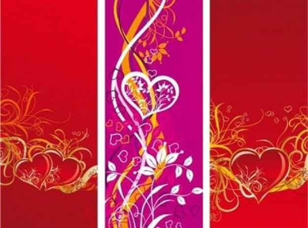 vertical banners with floral hearts