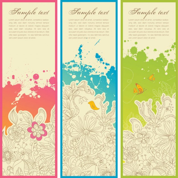 vertical trend pattern banner material with flower and bird