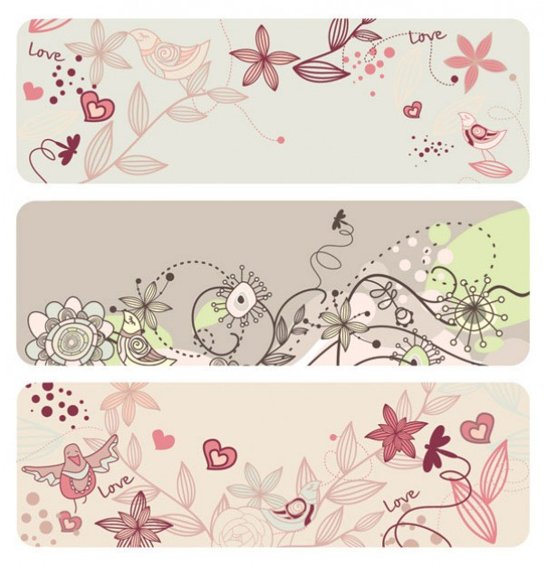 vintage banner with fashion lovely bird flowers material