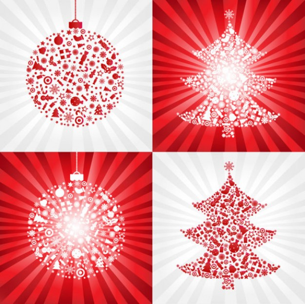 red christmas ball with christmas tree material