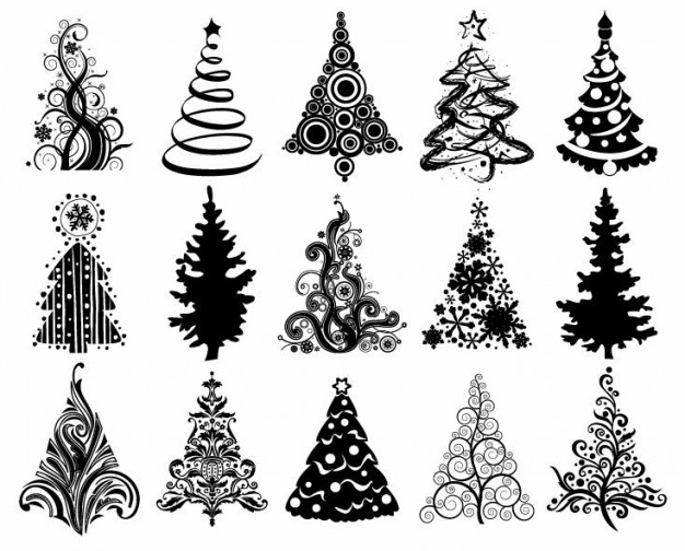 Christmas tree set Christmas of christmas trees graphic about Holidays Tree