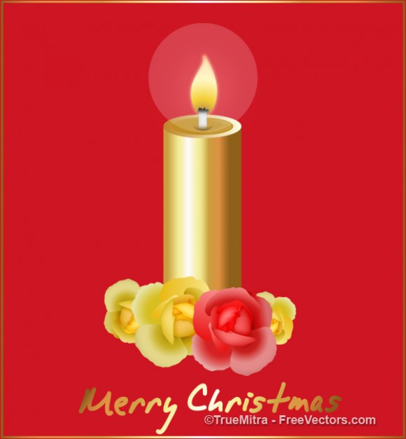 Christmas golden Holiday candle greeting card about Christmas decoration Opinions