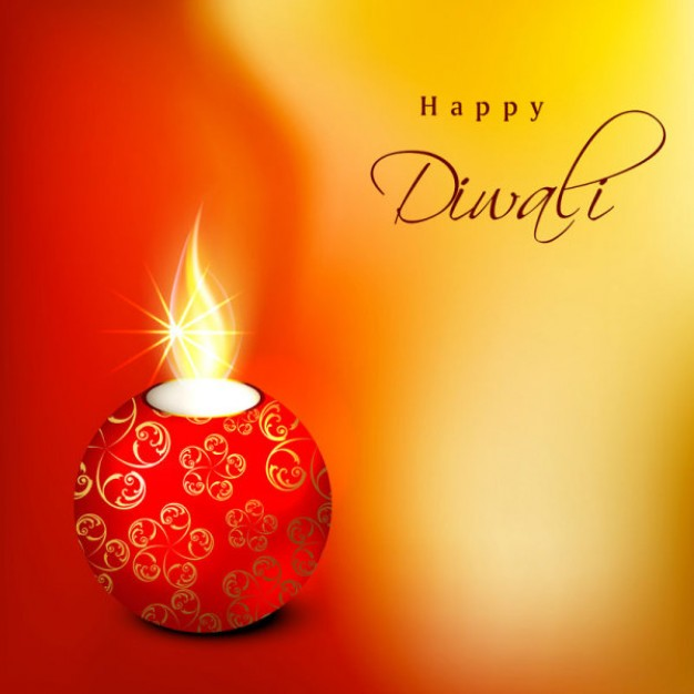 Diwali ball Christmas candle on orange background about Candle Holiday