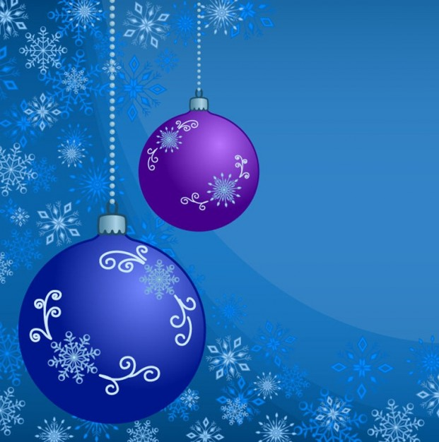 abstract christmas balls with ornament of snowflakes in blue