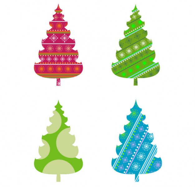 abstract christmas tree graphics set in red green blue