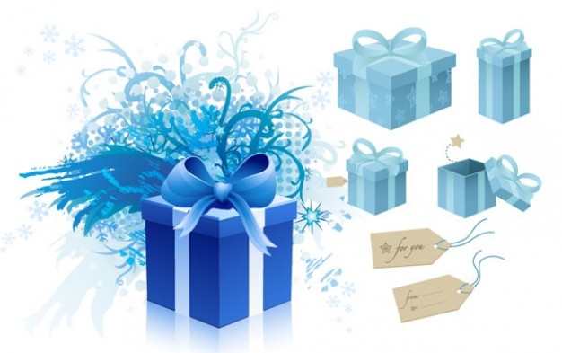 blue gift box theme material for Christmas holiday