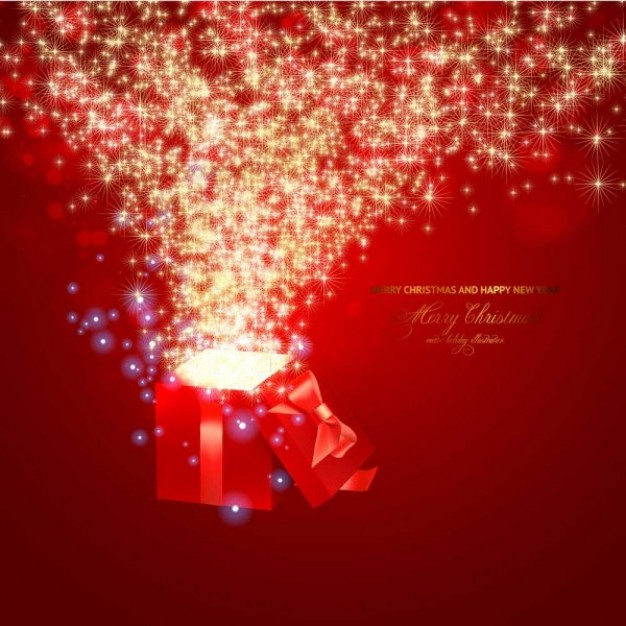 bright sparkles going out from a red gift box for Christmas card