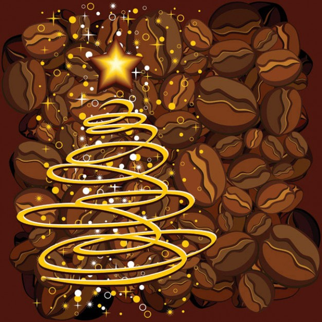 chrismas Beverage tree made with doodle line over coffee beans about Food The Coffee Tea
