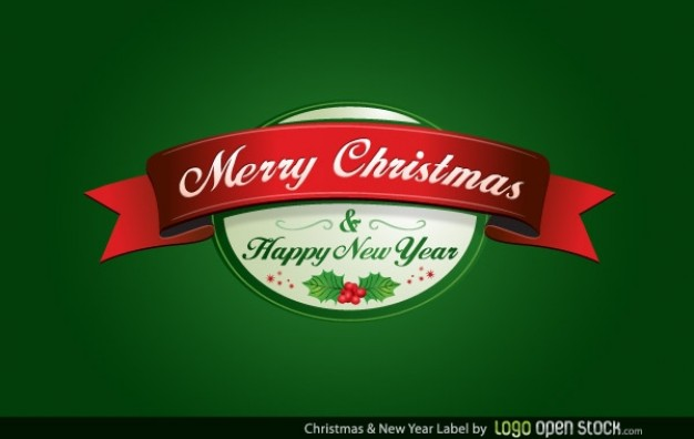 christmas and new year label over green background