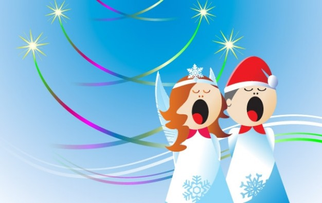 christmas angels design with snow clothing