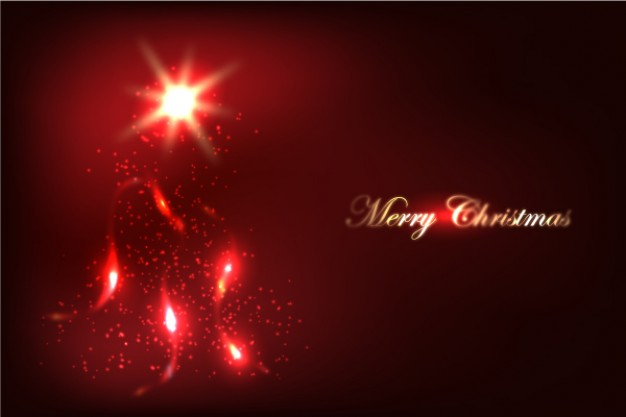 christmas background with red glow firing light