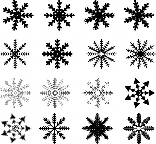 Christmas black Snowflake drawn set about snowflake figure