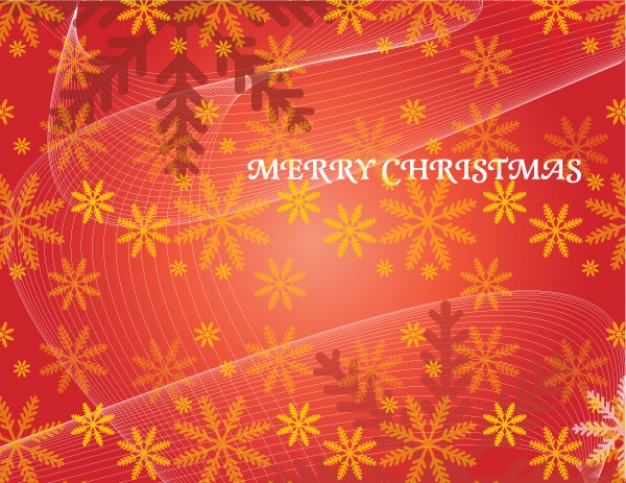 christmas card pattern with snowflakes and flowing lines  red background