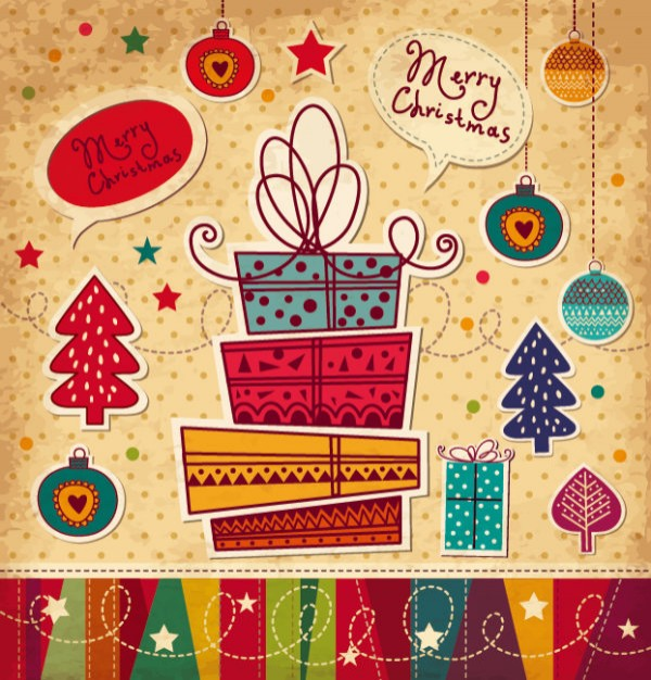 Christmas cartoon Christmas tree christmas card material about Christmas Holiday elements