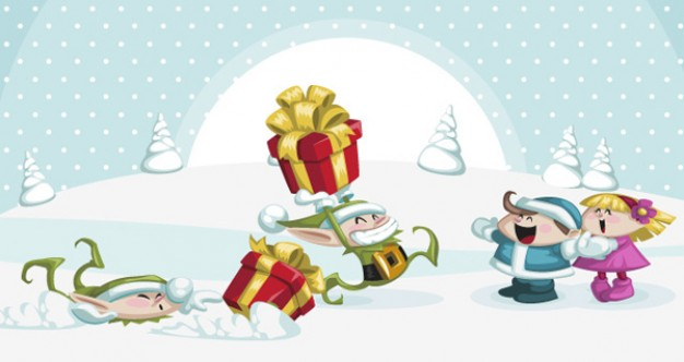 christmas characters pack with children and gift box