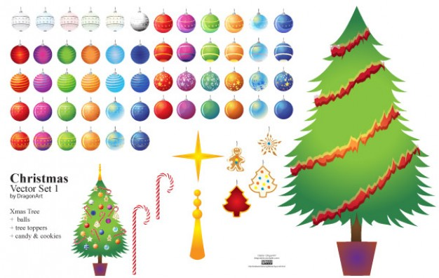 Christmas elements tree set about Holiday balls star