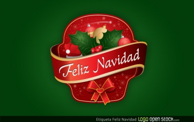 Christmas etiqueta Feliz Navidad feliz navidad about green background