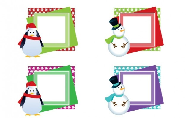 christmas frames about snowman with different color style