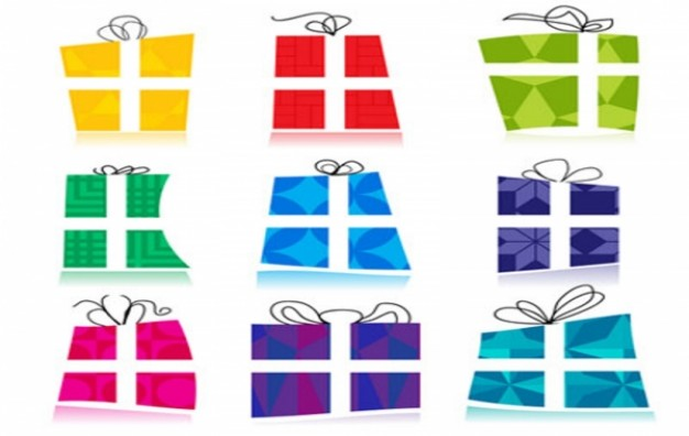 Christmas gift wrapping icons about Gift Business in different color style