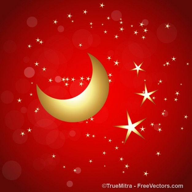 Christmas golden Do it yourself stars with the moon on red background about Christmas holiday