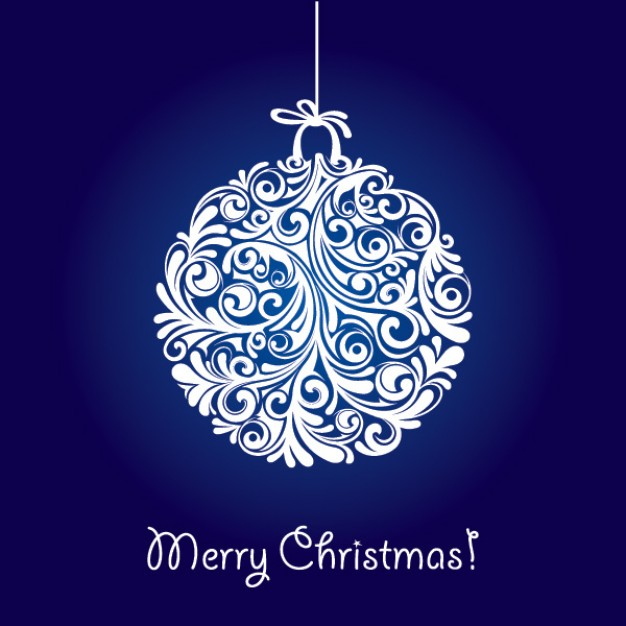 Christmas Holiday ball hanging made with curly stems about blue background Opinions Literature