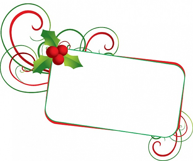 christmas mistletoe banner with swirl border