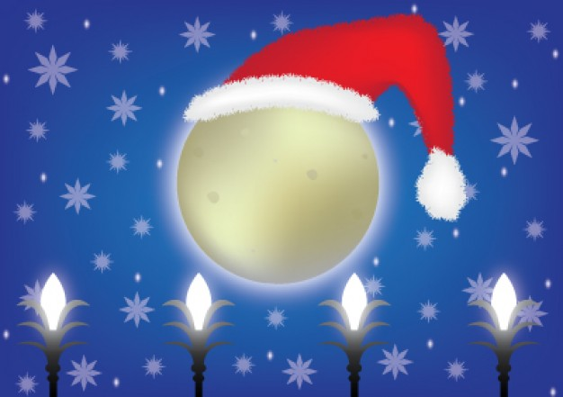 christmas moon with santa claus hat over snowflakes sky