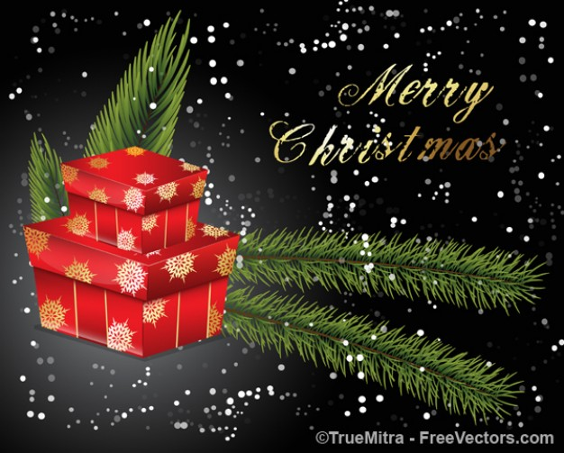 christmas presents greeting card over dark grey and snowflakes background